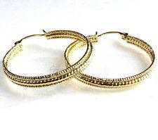 Women Lady New 32mm 14K Yellow Gold Plated 3 in 1 Creole Triple Hoops Earrings