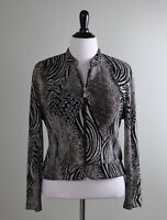 JOSEPH RIBKOFF $178 Stretch Mixed Animal Print Zip Front Jacket Top Size 14