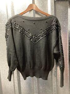 Yarell Vintage 80s Womens Ladies Black Wool Beaded Boat neck Jumper SweaterUK 14