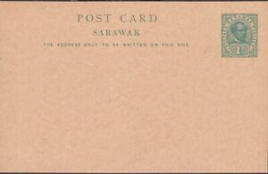 1900 SARAWAK vintage PS CARD 1c BROOKE green #3 superb MNH