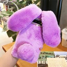 Plush Bunny Bling Glitter Diamond Fluffy Rabbit Fur Case Cover For Cell Phone V