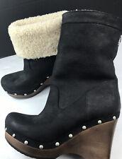 Ugg Carnegie Boots Black Suede Platform Uggs 1001317 US 8 EUR 39 Worn 1X Only!!
