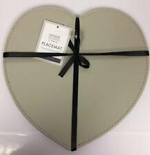 Set Of 2 Stylish Heart Shaped Faux Leather Placemats In Taupe