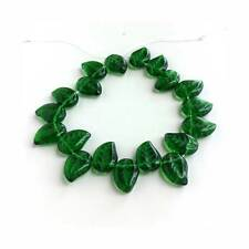 Green Eucalyptus Leaf Beads Czech Pressed Glass Deep Emerald color
