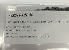 MS21042L06 SELF LOCKING NUT  SIZE:6-32 DRY FILM LUBED PACKAGE OF 100/EA