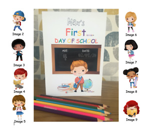First Day at School Personalised Card. Any name, age & date. Choice of image