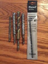 """Rawl 3/16"""" x 5-1/2"""" Concrete Drill Bit + 4 vintage concrete drill bits !"""