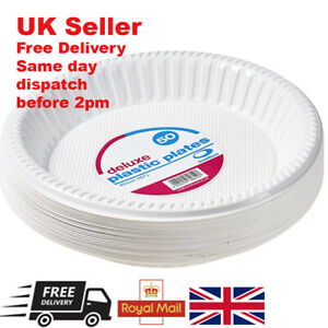 """Disposable Plastic Plates 10"""" x50 Party Birthday Quality Wedding Tableware Home"""