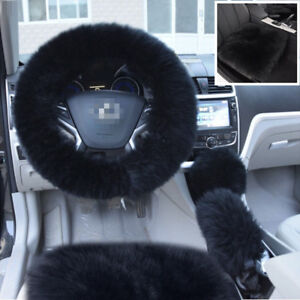 Black Long Furry Steering Wheel/Shifter/Parking Brake Cover+2x Car Seat Covers