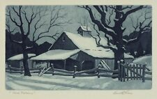 "Kenneth Reeve ""Snow Patterns"" 5""x8"" aquatint etching - Historic Indiana Art"