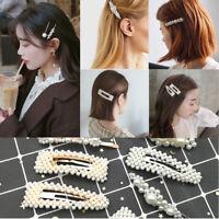 Women Lady Pearl Hair Clip Slide Hair Pin Bridal Hair Accessory Chunky UK