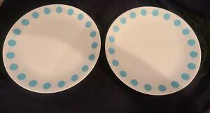 "Corelle South Beach Turquoise Dot Set of 2 Retro Dinner Plates 10.25"""