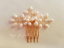 Gold bridal hair comb. Freshwater pearls. Wedding bride bridesmaids vintage UK