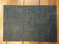 Set 6 Chilewich Woven Vinyl Black Brown Rectangular Easy Clean Cafe Placemats