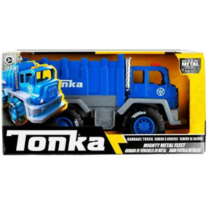 Tonka Mighty Metal Fleet Garbage Truck Blue Rubber Tires New