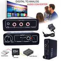 Digital Optical Coax Koaxial Toslink zu Analog Audio Konverter Adapter RCA L/R
