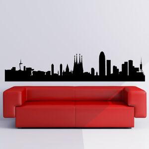 Barcelona City Skyline Wall Sticker Spain Wall Decal Cityscape Home Decor