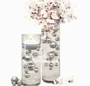 Silver Pearls- No Hole Jumbo/Assorted Sizes for Vase Decorations & Table Scatter
