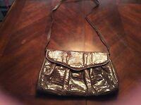 Vintage J RENEE BROWN SNAKESKIN REPTILE CROSS BODY Purse Handbag