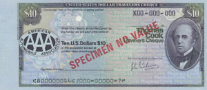 """USA: 1982 Thos Cook & American Auto Association $10 """"SPECIMEN"""" TRAVELLERS CHEQUE"""