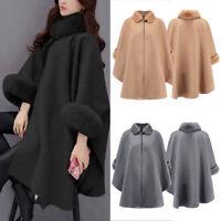 Womens Winter Wool Cloak Cape Coat Flare Sleeve Faux Fur Collar Poncho Overcoat