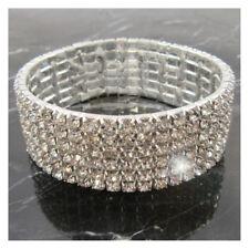 6 ROW -  Bling Bracelet Wedding Bridal Silver Prom Formal Crystal Diamante J331