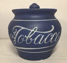 Vintage Antique Old Blue & White Ceramic Tobacco Jar