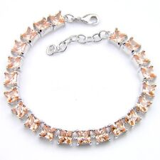 Party Queen Natural Honey Square Morganite Gemstone Silver Charming Bracelets