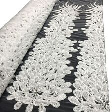 """White Bridal Liatris floral Lace Sequins Beaded Scallop Fabric for Dress 52"""" BTY"""