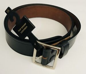 Top Grain Leather Mens 5 Year Belt Square Buckle Black Size 34 36