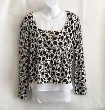dELiA*s Women's Sweater Size M Floral Black/Cream Cropped Cardigan Light Knit