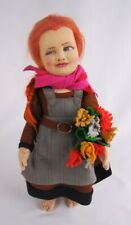 """Vintage Lenci Red-Haired Winking Flower Seller 13"""" Doll - All Original and Rare!"""