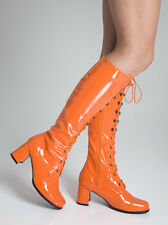 Orange Boots - Women's Retro Go Go Knee High Lace up  Boots - Size 11 UK - EU 46