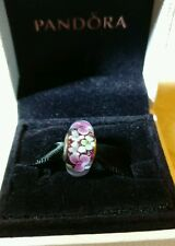 PANDORA MURANO GLASS FLOWER GARDEN CHARM BEAD S925 ALE with a polishing cloth
