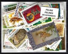 Félins - Cats 200 timbres différents oblitérés