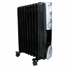 2KW 9 Fin Slim line Oil Filled Radiator Heater With Adjustable Thermostat Black