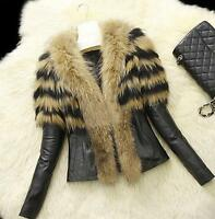 Women Fur Collar Coat Pu Leather Jacket Cotton Overcoat Parka Outwear Winter Top