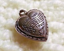 "Vintage Sterling Silver Puffy Heart Bracelet Charm ""I Love You Truly"""