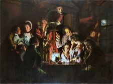 Experiment on a Bird in an Air Pump by Joseph Wright Repro Canvas Print Poster