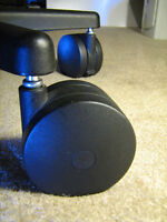 """Miracle Caster Qty 5 Big Chair Wheels Roll easy on Carpet 4-inch diam. 7/16""""stem"""