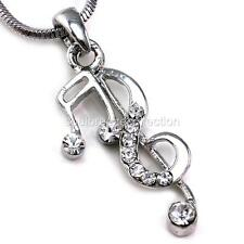Treble Clef Music Note Pendant Necklace Silver Tone Clear Rhinestones Ladies q1