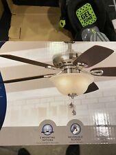 "Harbor Breeze, 44"" Satin Nickel Ceiling Reversible Fan w Frosted Bowl Light Kit"