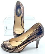 Cole Haan Air Carma Pump Women's 8.5 B Copper Croc Print Peep Toe Platform Heels