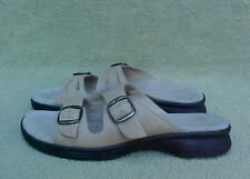 Womens Size 10 N CLARKS SPRINGERS TAN LEATHER SLIDES SANDALS SHOES