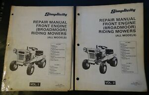 SIMPLICITY FRONT ENGINE BROADMOOR RIDING MOWERS SERVICE MANUALS VOL 1 & 2 (605)