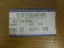 08/01/2002 Ticket: Football League Cup Semi-Final, Sheffield Wednesday v Blackbu