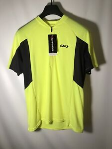 Louis Garneau Connection Mens M Cycling Jersey Bright Yellow 3 Pocket New w/ Tag