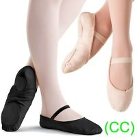 Pink & Black CANVAS Ballet Dance Shoes split suede sole elastics jig pumps (CC)