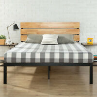 16541d6254 Full Size Metal & Wood Platform Bed with Wood Slat Support & Headboard  Bedroom