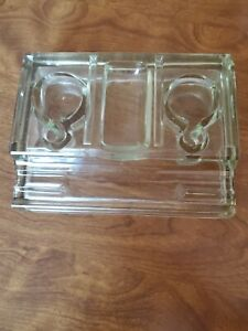 Vintage DESKTOP Clear Glass Green Tint DOUBLE INKWELL with FOUNTAIN PEN HOLDER